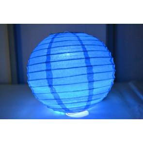 Papierový lampión guľatý visiaci LED 30cm modrý