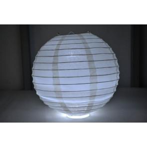 Papierový lampión guľatý visiaci LED 30cm béžový