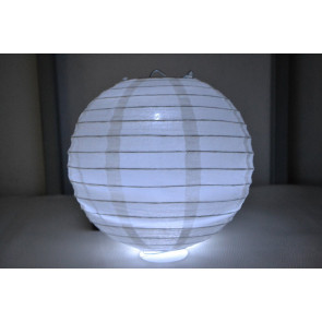 Papierový lampión guľatý visiaci LED 40cm biely