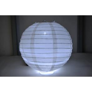 Papierový lampión guľatý visiaci LED 50cm biely